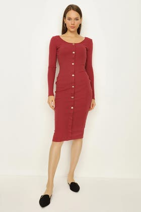 EARTH RED GOLD BUTTON LS BODYCON DRESS