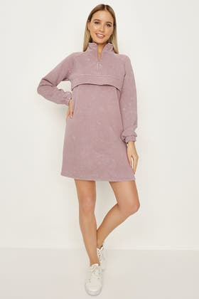 ELDERBERRY WASHED ZIP POCKET SWEAT DRESS