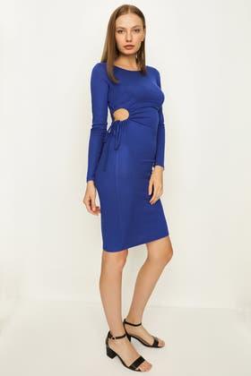 ELECTRIC BLUE CUT OUT LS BODYCON DRESS