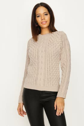 FAWN CABLE AND HONEYCOMB STITCH JUMPER