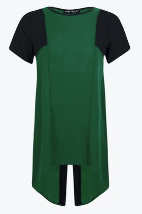 FOREST GREEN WRAP BACK LOTUS LONGLINE TOP