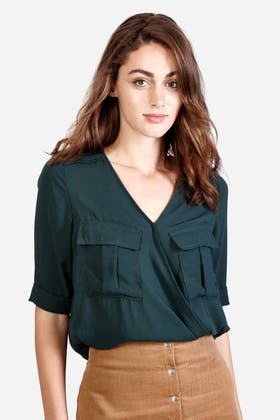 FOREST GREEN WRAP UTILITY BLOUSE