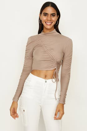 FRAPPE RUCHED FRONT LONG SLEEVE