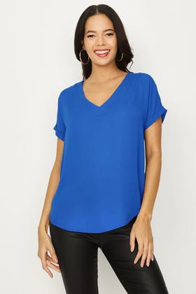 FRENCH BLUE LATTICE BACK WOVEN TOP