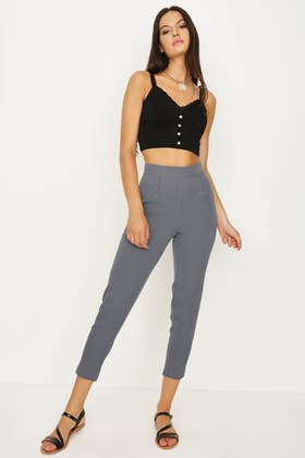 FROSTY GREY HIGH WAISTED STATEMENT TROUSER