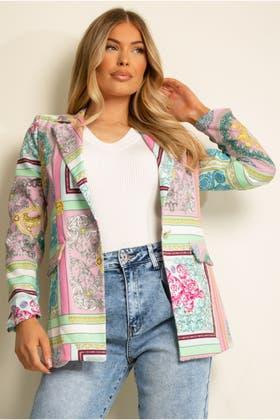 FUCHSIA Scarf Print Blazer Jacket