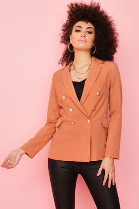 GINGER BUTTON DETAIL DOUBLE BREASTED JACKET