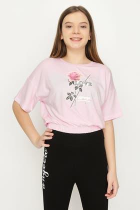ANGEL PINK GIRLS LOVE ROSE BUBBLE HEM TOP