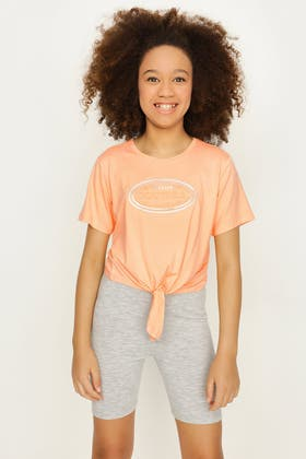APRICOT GIRLS COUTURE EMBOSSED TIE FRONT TEE