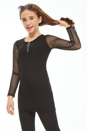 BLACK GIRLS MESH ZIP FRONT DRESS