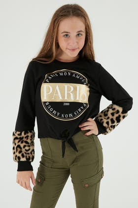 BLACK GIRLS PARIS FUR SLEEVE SWEAT