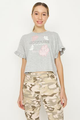 GREY MARL GIRLS COUTURE LACE PANEL FRILL TEE