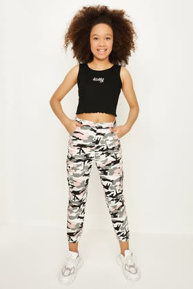 GIRLS GREY-PINK CAMO CARGO TROUSERS WITH CHAIN