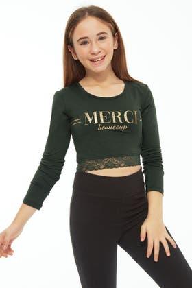 KHAKI GIRLS MERCI SLOGAN LONG SLV LACE TOP