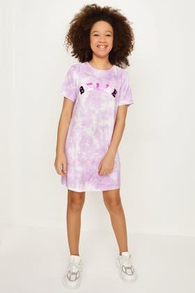 LILAC GIRLS BELLE TIE DYE T-SHIRT DRESS