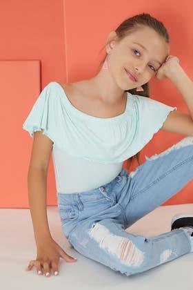 MINT GIRLS FRILL BARDOT BODYSUIT
