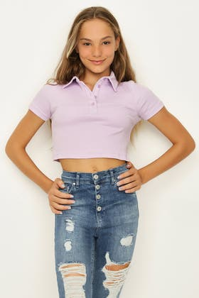 ORCHID GIRLS SHORT SLV CROP POLO TEE