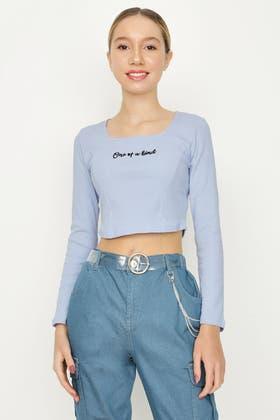 PALE BLUE GIRLS CORSET SEAM LS TOP