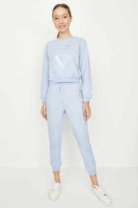 PALE BLUE GIRLS SEAM FRONT JOGGER