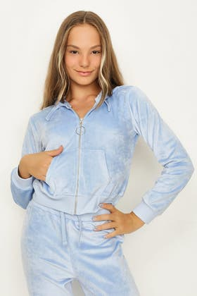 GIRLS PALE BLUE VELOUR ICONIC HOODIE