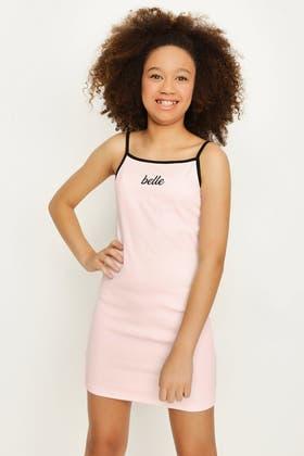 PALE PINK GIRLS BELLE RIB DRESS