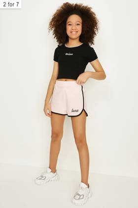 PALE PINK GIRLS LUXE SPORTS SHORT