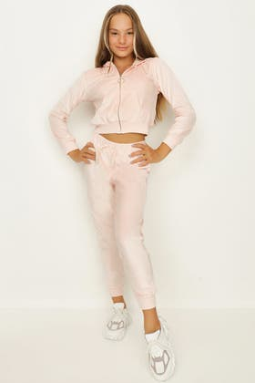PALE PINK GIRLS VELOUR ICONIC JOGGER
