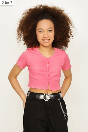 PINK GIRLS BUTTON FRONT TOP
