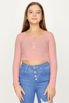 PINK CLAY GIRLS LONG SLEEVE SQUARE NECK ZIP TOP