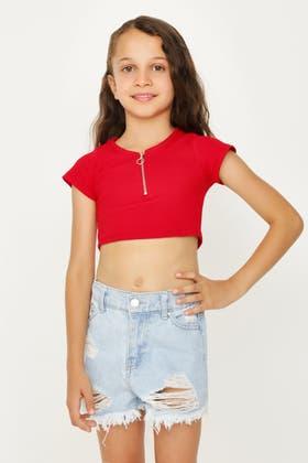 RED GIRLS SHORT SLV SCOOP NECK ZIP TOP
