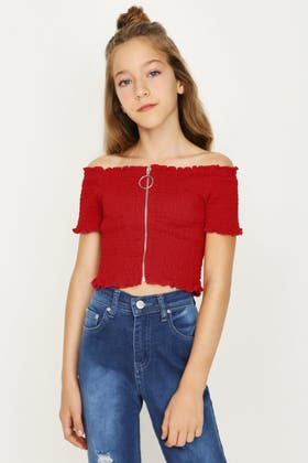 RED GIRLS ZIP FRONT SHIRRED BARDOT TOP
