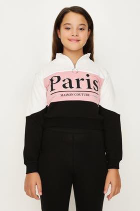 ROSE PINK GIRLS BLOCK PARIS ZIP NK SWEAT