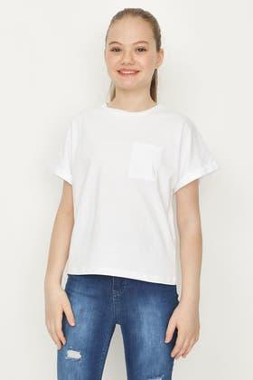 WHITE GIRLS BOXY T-SHIRT