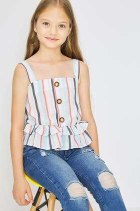 WHITE GIRLS BUTTON FRONT FRILL STRIPE TOP