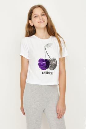 WHITE GIRLS CHERRY SEQUIN T-SHIRT