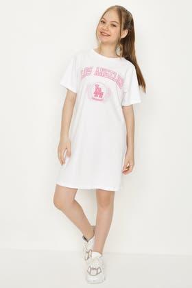 WHITE GIRLS OVERSIZE PRINTED T-SHIRT DRESS