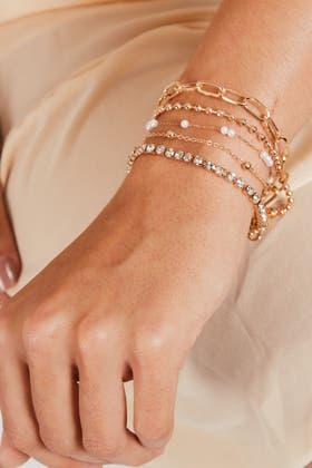 GOLD 2pcs Faux Pearl Bracelets