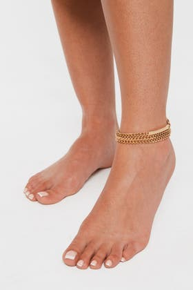 GOLD 3 Pcs Chain Anklets