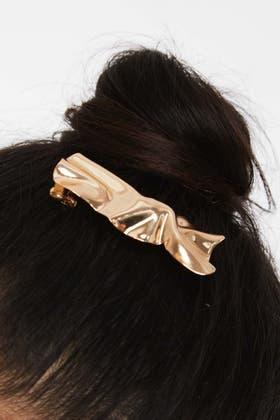 GOLD Bow Detail Hair Clip