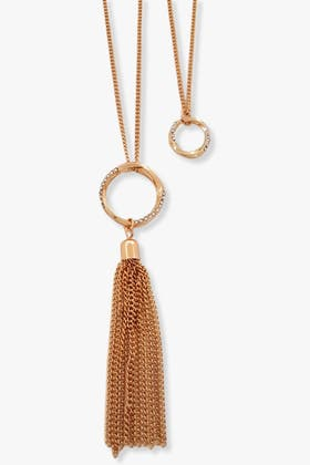 X DOUBLE RING PENDANT WITH TASSEL