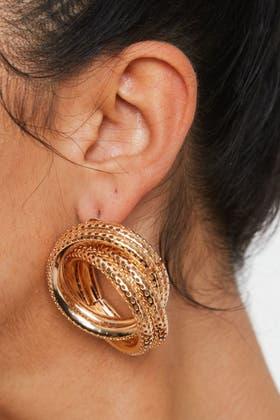 GOLD Double Twisted Hoop Earrings