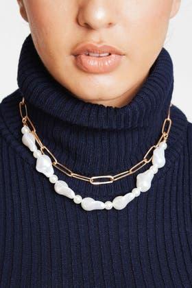 GOLD Faux Pearl 2pcs Necklace