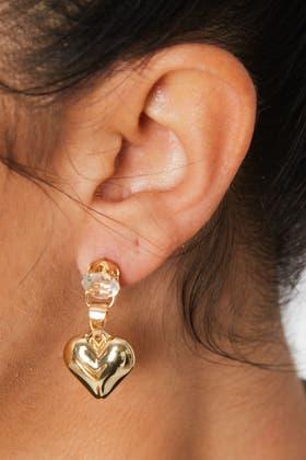 GOLD Heart Faux Pearl Earrings