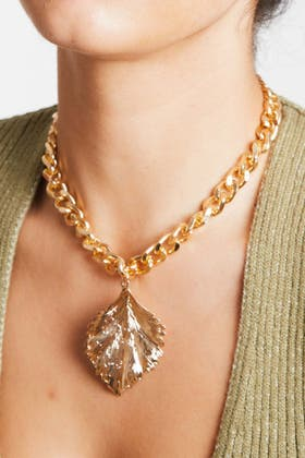 GOLD Leaf Chain Necklace