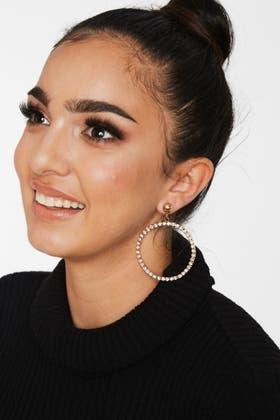 GOLD Rhinestone Hoop Earrings