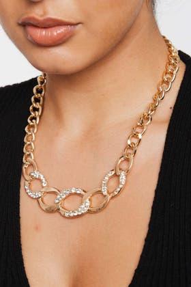 GOLD Studed Rhinestone Necklace