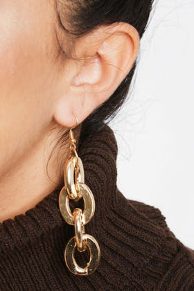 GOLD Thick and Thin Chain Earrings
