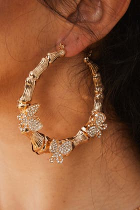 GOLD Twist Hoop Butterfly Earrings