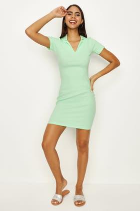 GREEN APPLE BASIC COLLAR NECK BODYCON DRESS
