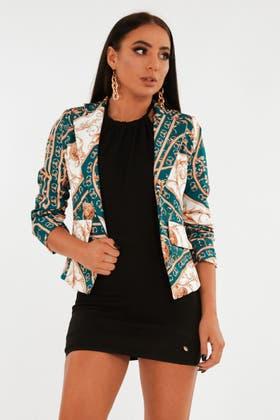 GREEN Baroque print ruched sleeve blazer